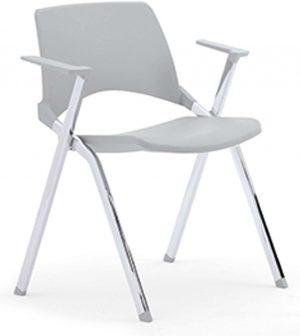 A140-makkelijk-koppelbare-4-poots-kunststof-design-stoel-met-armleggers-verticaal-stapelbaar
